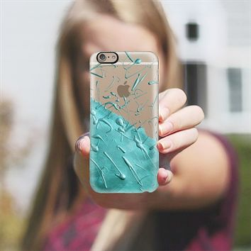 Turquoise Rain (Transparent) iPhone 6 case by Lisa Argyropoulos | Casetify