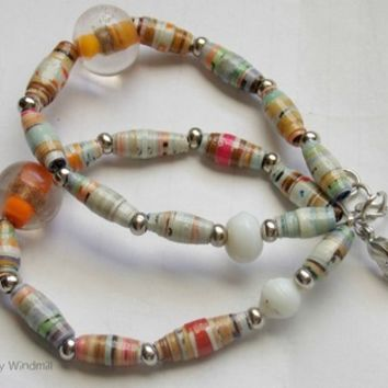 """Swimsuit edition"" paper bead bracelet from The Dizzy Windmill"