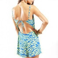 Inkblot Tie Back Romper in Blue/Yellow
