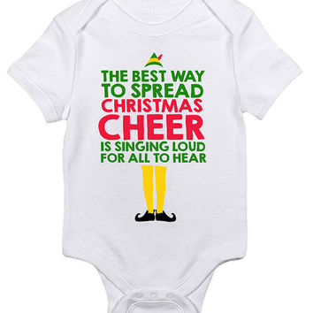 Christmas Cheer Buddy the Elf Baby Clothes Infant Bodysuit Jumper Funny Gift xmas Present Holiday Movie Festive Singing Loud Quote New Mom