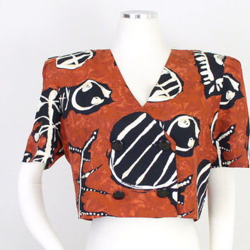 Vintage 1980s Colorful African Print Women's Crop Top - Rust Orange and Black Tribal Print Belly Shirt - Size 9 / 10 Medium