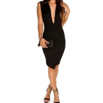 Black Deep V Scuba Midi Dress