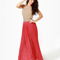 Lovely Color Block Dress - Maxi Dress - Halter Dress - $58.00