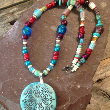 Turquoise Mother of Pearl Necklace, Colorful, Mother of Pearl Jewelry, Turquoise Necklace, Turquoise Jewelry, Handmade, Hippie