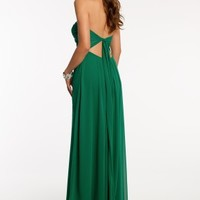 Strapless Chiffon Dress with Open Back Tie
