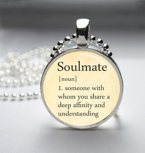 Soulmate Dictionary Definition Glass Tile Bezel Round Pendant Necklace
