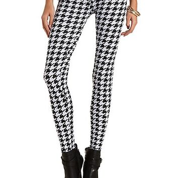 Cotton Houndstooth Printed Leggings by Charlotte Russe - Black