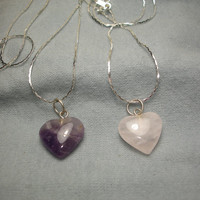 Polished Heart Amethyst and Rose Quartz Silver  Plated Necklaces