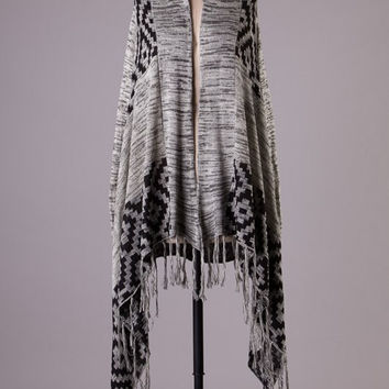Gray and Black Diamond Aztec Fringe Cardigan
