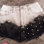 High Waisted Frayed Tie Dyed with studdst denim Hipster Shorts hand made from vintage jeans ANY SIZE
