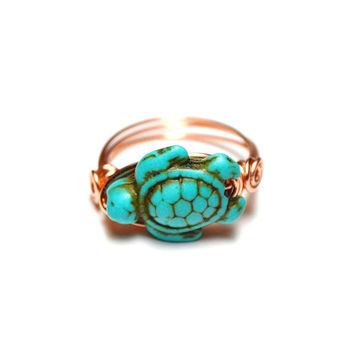 Wire Wrapped Ring Sea Turtle Ring Turquoise and Copper Handmade Artsian Ring Custom Sized Ocean Beach Jewelry