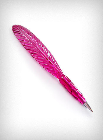 Pink Cristale Plume Feather Pen | PLASTICLAND