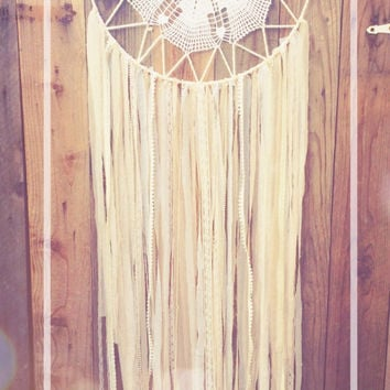 White & Pale Pink Shabby Chic Boho Lace Crochet Doily Fabric Dreamcatcher