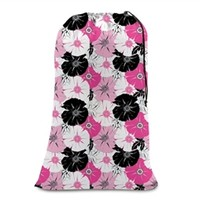 College Girl Laundry Bag - Pink & Black Floral - Dorm Room Style Cheap Gifts For College Girls