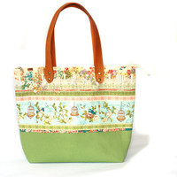 Diaper Bag, Green cotton tote ba and canvas bottom with real leather handles, lots of pocket inside