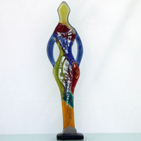 Fused glass multi colored , colorful Figure Sculpture art