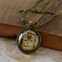 Vintage Tabby Cat Necklace, Cat Jewelry, Kitten Pendant, Tabby Cat Charm, Your Choice of Finish (1180)