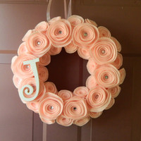 Baby Wreath - Pink Wreath - Felt Wreath in Baby Pink with Crystals and Initial Letter
