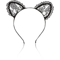 River Island Womens Black lace kitten ears head band