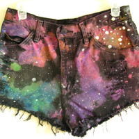 Galaxy Shorts //Studded High Waist Black Jeans // Made to Order in ALL SIZES // Blacklight and Glow in the Dark :D