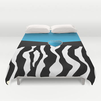 Blue with Zebra Stripes Duvet Cover by Donna Siegrist