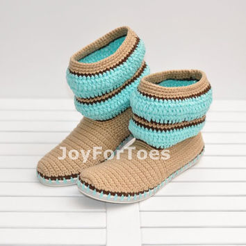 Crochet Women Boots Slippers for the Street Mint  Beige Stripe