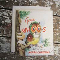 Moveable Christmas Card Owl Card Pop Up Card Santa Holiday Greetings 1940s