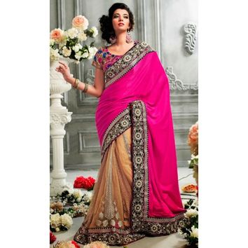 Attractive Pink Indian Lehenga Saree - Sarees - Womens Clothing - TheEthnicWear