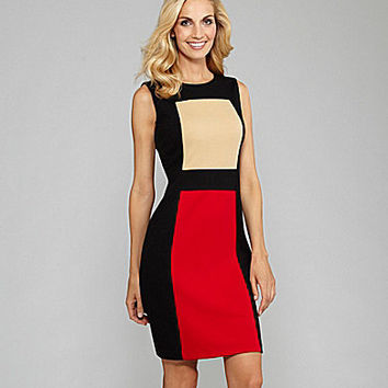 Calvin Klein Block-Print Sheath Dress red black cream colorblock | Dillards.com