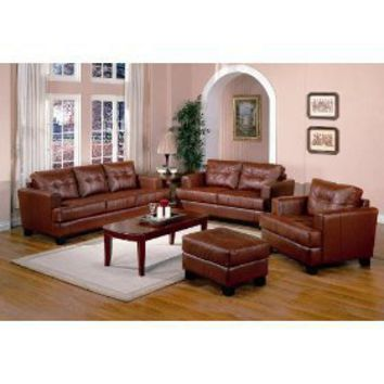 4 pcs burnt orange classic leather sofa from amazon