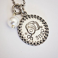 Oh Snap - Hand Stamped Stainless Steel Necklace, Sterling Silver Frame and Pearl - Camera Design - Great Gift for Photographers