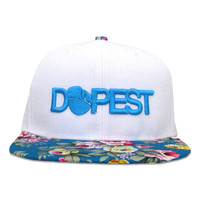 Dopest Bar Floral Snapback in White & Turquoise Floral - One Size / White