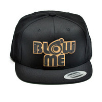 Blow Me Wood Charm Snapback in Black - One Size / Black