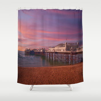 Brighton Pier Sunrise Shower Curtain by Alice Gosling