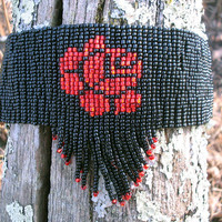 Black and Red Bead Choker with Bead Fringe