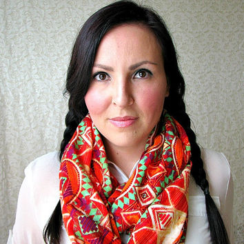 Tribal Print Infinity Loop Scarf, aztec scarf, Bohemian fashion scarf, gift for her, lightweight scarf