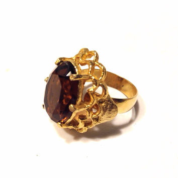 Large Amber Rhinestone Gold Tone Adjustable Ring Filigree Setting