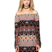 Jolene Folk Print Babydoll Dress