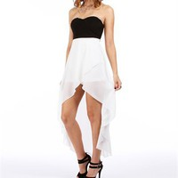 Black/Ivory Hi Low Homecoming Dress