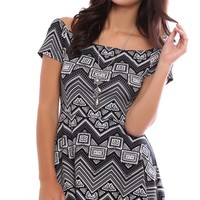 Off the Shoulder Skater Dress with Chevron Print