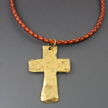 Gold Mens Cross Pendant on Rust Braided Leather Necklace, Rustic Cross Necklace for Man Him