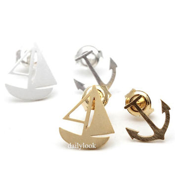 anchor studs, boat earrings, earrings set, summer jewelry, sailing boat, anchor, man studs, unique studs, marine, anchor jewelry, vacation