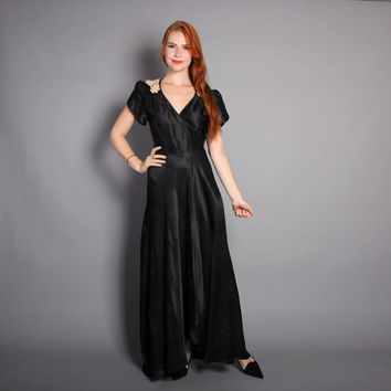 70s BLACK Satin WRAP DRESS / Lace Trim Plunging Neckline Maxi, xs-s