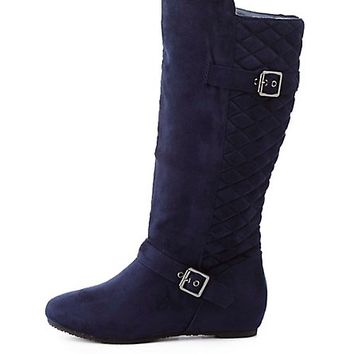 Quilted Back Sliver Wedge Boots by Charlotte Russe - Navy