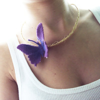 Necklace with Big Purple Butterfly and Beige Rope - Handmade