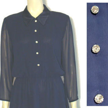 Vintage 80s Talbots Dress Rhinestone Buttons Nwot - Dresses