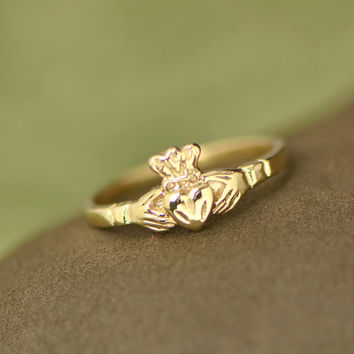 10K Yellow Gold Claddagh Ring - Gold Ring - Irish Ring - Claddagh Jewelry - Gold Promise Ring - Golden Ring