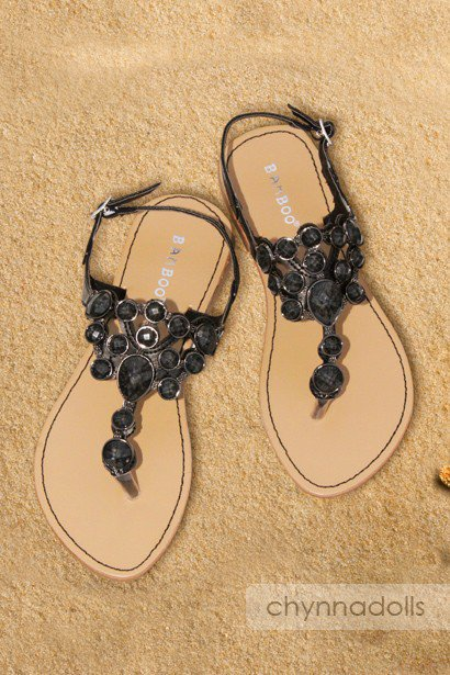 Sandals Black Flat Jewel Top Ankle Strap - Chynna Dolls