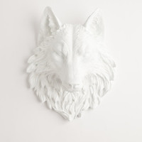 The Lincoln - White Resin Wolf Head- Resin White Faux Taxidermy- Chic &amp; Trendy