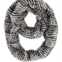 Two Tone Marled Knit Infinity Scarf